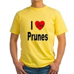 I Love Prunes (Front) Yellow T-Shirt
