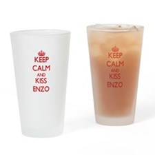Keep Calm and Kiss Enzo Drinking Glass
