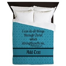 Philippians 4:13 Word teal Queen Duvet