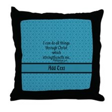 Philippians 4:13 Word teal Throw Pillow