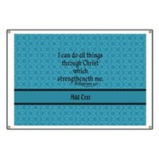 Philippians 4:13 Word teal Banner