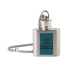 Philippians 4:13 Word teal Flask Necklace