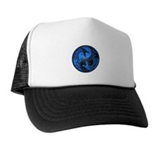 Blue and Black Yin Yang Dragons Cap