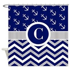 Navy Gray Chevron Anchors Monogram Shower Curtain