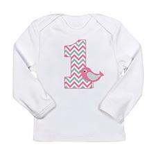 First Birthday Pink Green Bird Long Sleeve T-Shirt