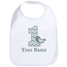 1st Birthday Green Bird Personalized Bib