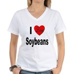 I Love Soybeans (Front) Women's V-Neck T-Shirt