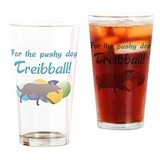 Pushy Dog Treibball Drinking Glass