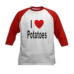 I Love Potatoes (Front) Kids Baseball Jersey