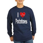 I Love Potatoes (Front) Long Sleeve Dark T-Shirt