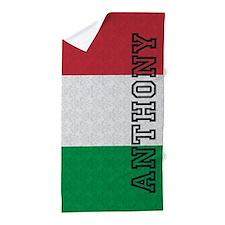 Monogram Italian Flag Damask Beach Towel