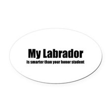 Cute Labrador art Oval Car Magnet
