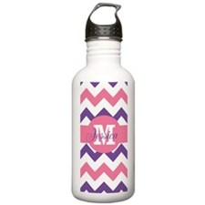 Monogram Name Pink Purple Chevron Water Bottle