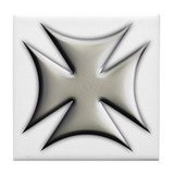 Titanium Chrome Biker Cross Tile Coaster