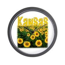 Kansas Sunflower Field Wall Clock