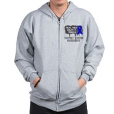 Anal Cancer Real Men Wear A Ribbon Zip Hoodie