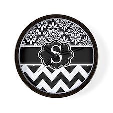 Black White Damask Chevron Monogram Wall Clock