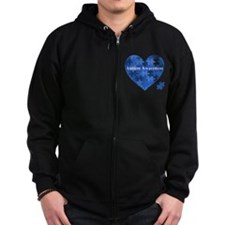 Autism Awareness Heart Zip Hoodie