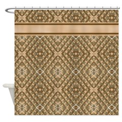 Brown Diamond Pattern Shower Curtains