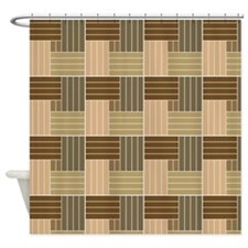 Brown Line Pattern Shower Curtains