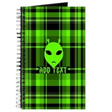 Alien Face Plaid Journal