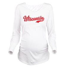 Wisconsin Script Font Long Sleeve Maternity T-Shir