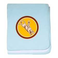Rodeo Cowboy Bull Riding Retro Circle baby blanket