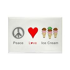 Peace Love Ice Cream Rectangle Magnet