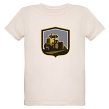 Farmer Driving Vintage Farm Tractor Plowing Retro