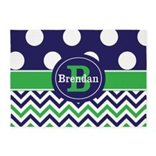 Blue Green Dots Chevron Personalized 5'x7'Area Rug