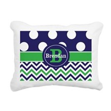 Blue Green Dots Chevron Personalized Rectangular C