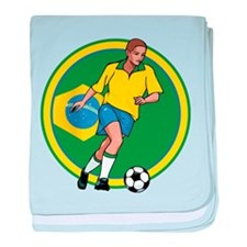Go Brasil Brazil soccer baby blanket