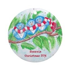 Three Birds Personalized Ornament (round)