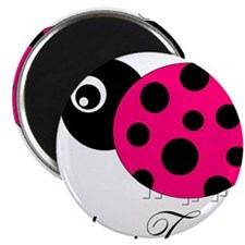 Pesronalizable Pink and Black Ladybug Magnets