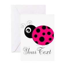 Pesronalizable Pink and Black Ladybug Greeting Car