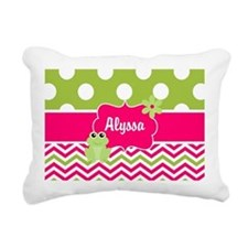 Pink Green Chevron Frog Personalized Rectangular C