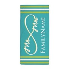 Teal Lime Mr Mrs Infinite Beach Towel