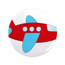 """Red and Blue Airplane 3.5"""" Button"""