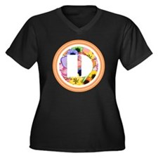 Floral Women's Plus Size V-Neck Dark T-Shirt