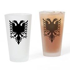Albanian Eagle Black Drinking Glass