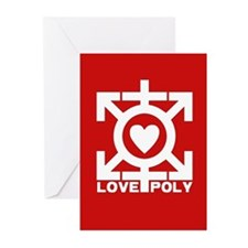 Love Poly Red Greeting Cards (Pk of 10)