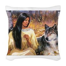 Grey Wolf.jpg Woven Throw Pillow