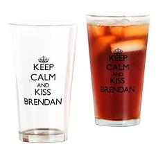Keep Calm and Kiss Brendan Drinking Glass