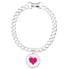 Personalizable Pink Heart with Crown Bracelet