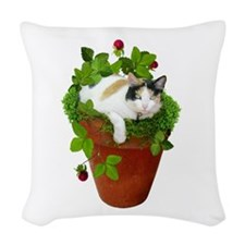 Flowerpot Cat Woven Throw Pillow