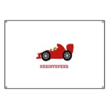 Personalised Red Racing Car Banner