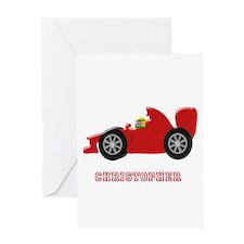 Personalised Red Racing Car Greeting Cards