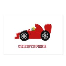 Personalised Red Racing Car Postcards (Package of