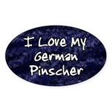 Funky Love German Pinscher Oval Decal