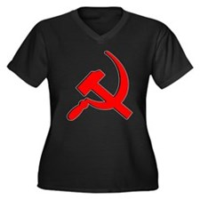 Hammer and Sickle T Shirts Women's Plus Size V-Nec